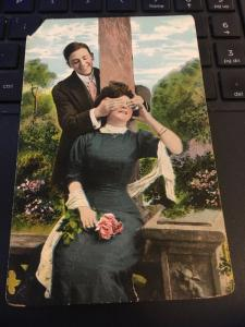 Vintage Postcard:Theochrom Series 1076 Man and Woman, Guess Who