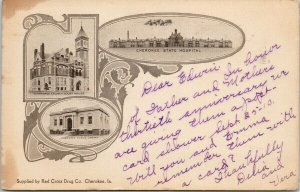Cherokee IA Iowa State Hospital Court House Library Multiview Postcard F80