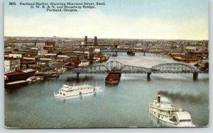 Portland~OWR&N~Oregon-Washington Railroad & Navigation Bridge & Steamers~c1910