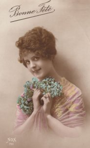 RP: Woman holding Violets , 00-10s