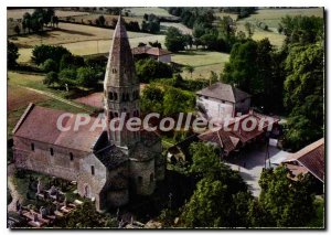 Postcard Old Bage le Chatel Ain Church Aerial view of St Andre de Bage magnif...