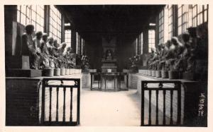 China Japan Temple Interior Hall with Statues Real Photo Antique Postcard J77601
