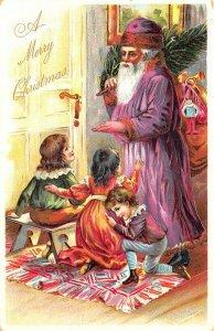 Raphael Tuck Christmas Children Purple Suited Santa Claus Postcard