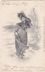 TUCK #853; Art, woman taking a stroll wearing bonnet, mini cape over long d...