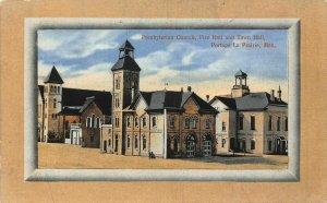 Canada Presbyterian Church Fire Hall and Town Hall Portage La Prairie Postcard