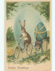 Pre-Linen easter HUMANIZED BUNNY RABBIT RIDING BICYCLE W7093