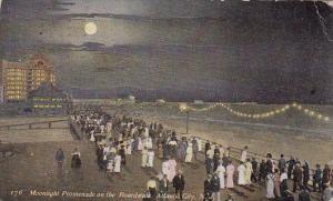 New Jersey Atlantic City Moonlight Promenade On The Boardwalk 1910