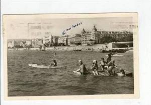 RP Nice, France,PU 1948, Man in canoe & Bathers