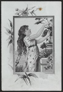 VICTORIAN TRADE CARD Candle Rubber Shoe Co Lady With Long Hair Flowers & Vase