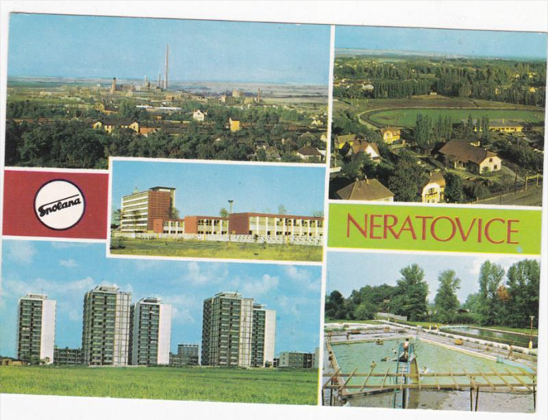 Swimming Pool, Aerial View of Town, Running Track, Business Area, NERATOVICE,...