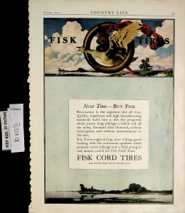 1919 Fisk Tires Maxfield Parrish Goose Large Vintage Print Ad 6152