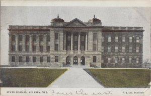 KEARNEY NE - State Normal School 1908 view / NOW UNIV of NEBRASKA branch / FLAG