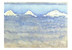 Art Postcard Eiger, Monch & Jungfrau above a sea of mist (1908) Ferdinand Hodler