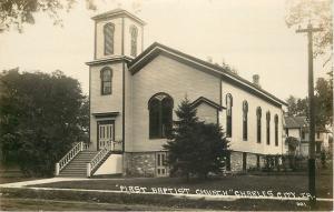 Charles City Iowa~First Baptist Church~Houses Behind~Pole~1920s RPPC
