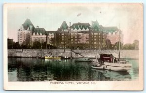 VTG RPPC Real Photo Canada Victoria BC Color Tint View Empress Hotel Boats A2