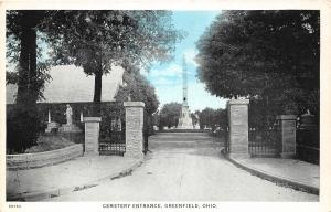 F28/ Greenfield Ohio Postcard c1910 Cemetery Entrance
