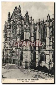 Old Postcard From Beauvais Cathedral The Grand Portal
