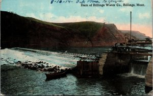 Postcard MT Montana Dam of Billings Water Company Posted 1914