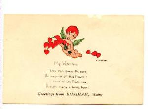 E Weaver, Cupid with Wings Valentine Poem, Bingham, Maine, Made in USA