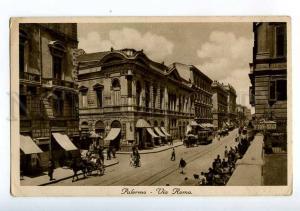 213968 ITALY PALERMO Via Roma TRAM carriage Vintage postcard