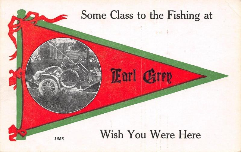 Earl Grey SK Some Class to the Fishing~Exaggerated? Fish in Back of Auto c1914
