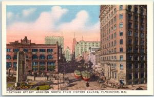 Vancouver, BC Canada Postcard HASTINGS STREET Looking North Linen 1940s Unused