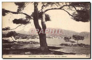 Old Postcard Menton General view from the Cap Martin