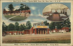 Tennessee Kentucky State Line Shell Grove Camp Gas Station Linen Postcard