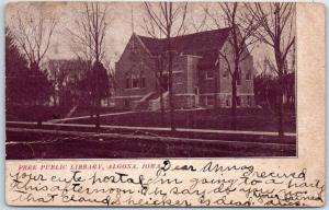 Algona, Iowa Postcard FREE PUBLIC LIBRARY Building View 1908 Cancel