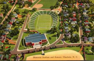 North Carolina Charlotte Aerial View Memorial Stadium and Armory 1937 Curteich