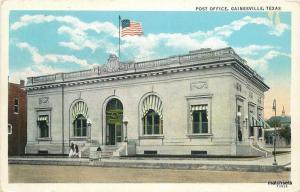 1936 Post Office Gainesville Texas Flag Teich postcard 7830