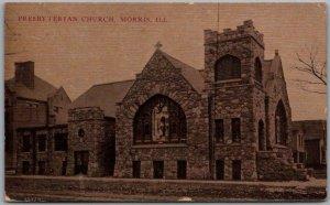 MORRIS, Illinois Postcard Presbyterian Church Building Street View 1911 Cancel