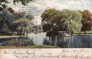 Massachusetts Boston Scene In Public Gardens 1906
