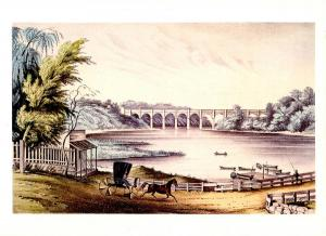 Nathaniel Currier (Repro) -  The High Bridge at Harlem, NY   (Size: 6.625 X ...