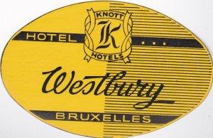 Belgium Brussells Hotel Westbury Vintage Luggage Label lbl0924