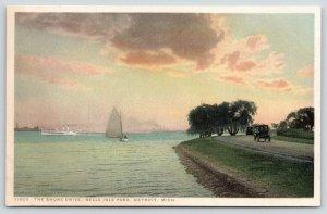 Detroit Michigan~Belle Isle Park~Shore Drive~Steamer in Distance~Sail Boat~c1910
