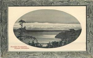 Beautiful Washington C-1910 Frame like Olympics Mountains RPPC PNC 1667