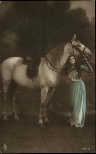 Beautiful Woman & Large White Horse Saddle c1910 Tinted Real Photo Postcard