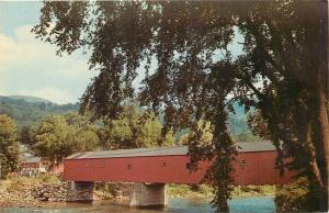 West Cornwall Connecticut~Covered Bridge over Housatonic River~Town in Back 1950