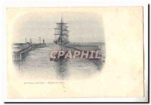 St Valery en Caux Postcard Old harbor entrance (boat ship)