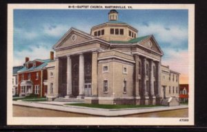 Virginia unused linen era colour Postcard Baptist Church, Martinsville