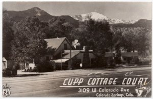 Real Photo Postcard Cupp Cottage Court US 24 Colorado Springs, Colorado~107844