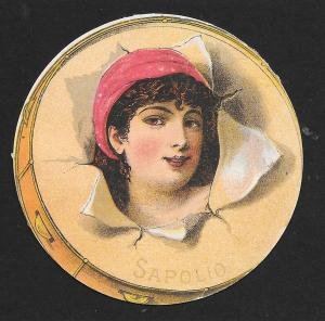 VICTORIAN TRADE CARD Sapolio Spanish Lady Bursting out of Tambourine