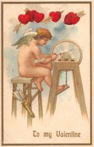 F99/ Valentine's Day Love Holiday Postcard c1910 Grind Wheel Cupid 17