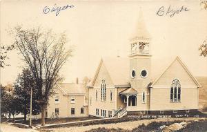 Union ME Methodist Church and Parsonage Bell Tower RPPC Postcard