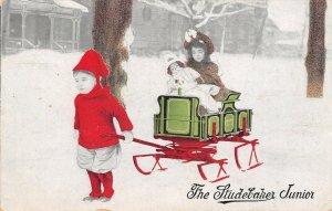 Sharpsville PA Byerly's Carriage Works~Kid Pulls Sis & Doll~Xmas Studebaker, Jr