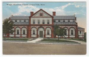 Wright Memorial Hospital Fergus Falls Minnesota 1910c postcard