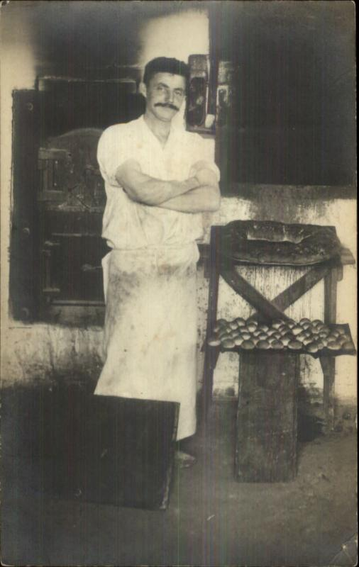 Occupation Bread Baker Food Oven Apron c1910 Real Photo Postcard