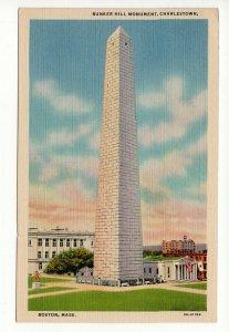 Bunker Hill Monument Charlestown  Massachusetts Vintage Linen Postcard PC5-22