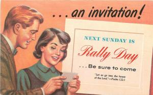 NEXT SUNDAY IS RALLY DAY RELIGIOUS POSTCARD PSALM 122.1